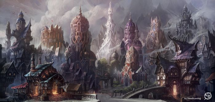 Major square of the Mist City by DinoDrawing