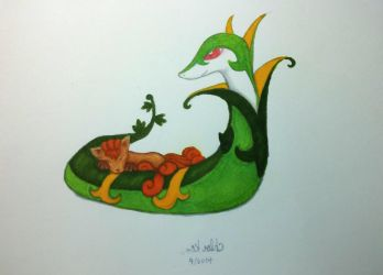Serperior and Vulpix by chloobs