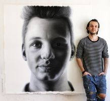 Large pencil portrait of my brother by AtomiccircuS
