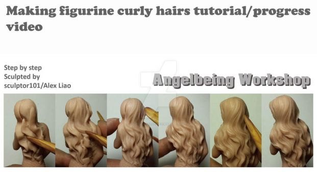 Making figurine curly hair tutorial progress video by sculptor101