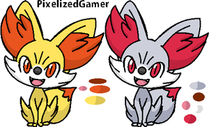 Fennekin and Shiny Fennekin [MS paint] by pixelizedgamer