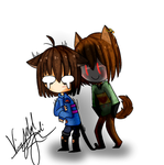 Neko frisk and Doggo Chara by Tomboywolfthief