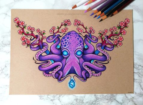 Octopus and Cherry Blossoms - Commission by dannii-jo