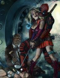 Harley and Deadpool crazy love 200dpi by neutronboar