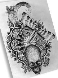 moth skull geometric FB by berhoff