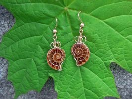 Tiny Ammonite Earrings by magpie-poet