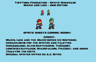 Mario and Luigi - 2016 Edition Sprites Preview by TuffTony