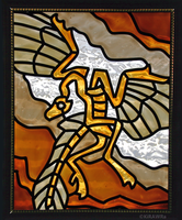 Archaeopteryx Faux Stained Glass (Indoor) by KiRAWRa