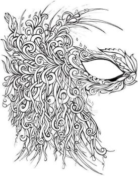 Feather Swirl Mask Coloring Page by ClanMclain