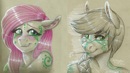 Doodle- Applejack and Fluttershy by Earthsong9405