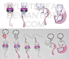 Mewtwo and Mew - Charms 'n' Earrings