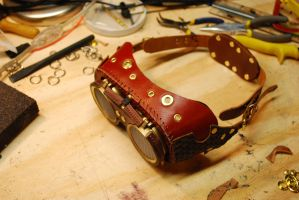 Red Leather goggles 2 closed by Bluebenu