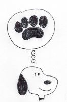 Snoopy thinks of a dog paw print by dth1971