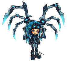HotS: Kerrigan Queen of Ghosts chibi by ryumo