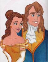 'Belle and Prince' Colored by jujubeeze