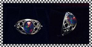 Harlequin Opal Ring by SunreiCreations