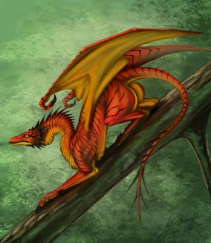 Forest dragon by DraconianArtLine