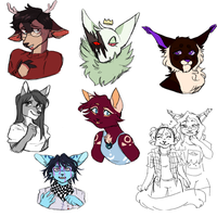various gift + commission sketches by orinkuu