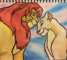 Simba and Nala by Aleksi-Ann