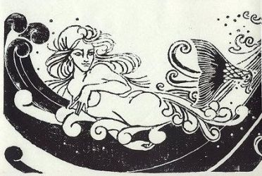 Mermaid woodblock by Yonaka-Yamako