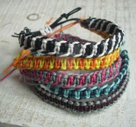 Knotted bracelets - striped by BerryMouse
