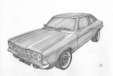 Ford Cortina drawing by davidsteeleartworks