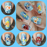 Sea Creatures Manicure Right by MikariStar