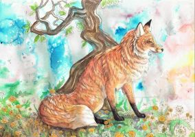 Fox with Dandelions by dawndelver
