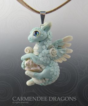 Baby Dragon Baby blue   Polymer clay Dragon by carmendee