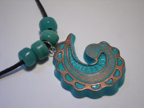 Turquoise and Copper Paisely Necklace by SylvestrisArt