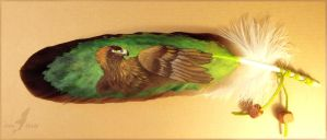 Eagle on eagle feather - feather painting by AlviaAlcedo