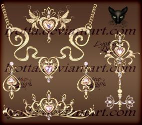 Gold necklace diadem pendants earrings and key by Lyotta