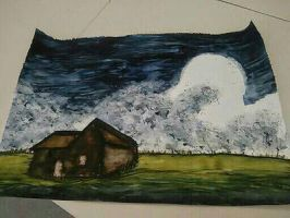 water painted a farm house by Shainicole