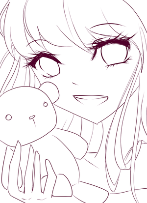 Girl and Teddy Bear lineart by roseycrystals730