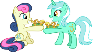 Lyra and Bon Bon exchanging gifts by CloudyGlow