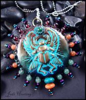 Isdes - Clay and Gemstone Pendant by andromeda