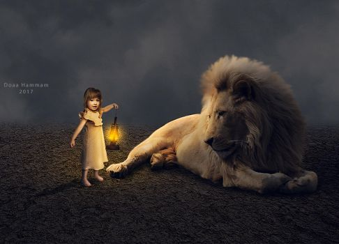 The girle and Lion by DoaaHammam