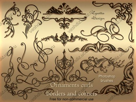 Ornaments curls photoshop brushes by Lyotta