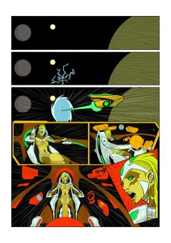 Galactic Corps #1 Page 1 inks and Flats by CAPTAIN-GAMMA