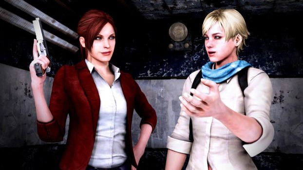 Claire Redfield and Sherry Birkin by Mister-Valentine