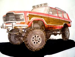 AMC Jeep Wagoneer drawing by prestonthecarartist