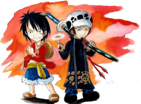 Luffy et Law chibi by ZeldaPeach