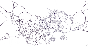 The Last Unicorn Line Work by Cicklefron