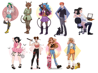 Fullbody commissions by HetteMaudit
