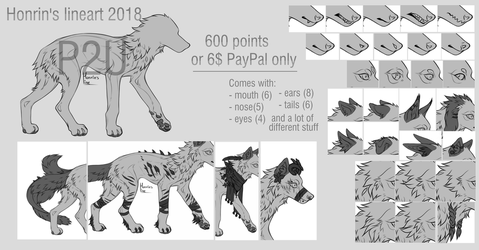 P2U canine lineart 2018 by Honrin