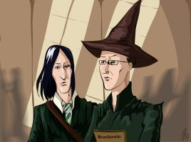 Snape and McGonagall by Natalliel