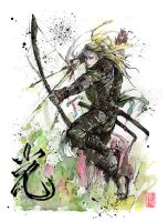 Legolas Samurai Archer Sumi and watercolor by MyCKs