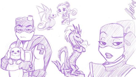 Rise sketches and a GoT sketch by bugsytrex