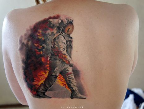 Astronaut in fire WIP by grimmy3d
