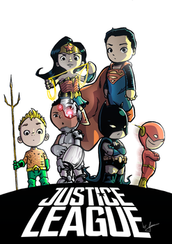 Tiny Justice League by ilustrajean